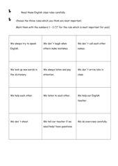 English Class Rules