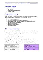 Ordnungssysteme - Infoblatt