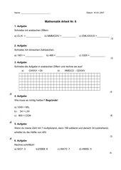 Mathematikarbeit Nr. 6/  4. Klasse