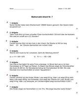 Mathematikarbeit Nr. 7