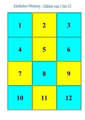 Memo-Spiel / Zuordnungsspiel:  Zahlen von 1 bis 12
