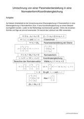 Arbeitsblat Umrechnung Ebene von Parameter- in Normalenform