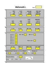 Test: Grundrechenarten, Winkel erkennen, Einheiten, Dreisatz, m², %, Bruch, X-Rechnung, Zahlenreihen