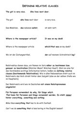 Relative Clauses Definitionsblatt
