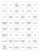 Adverbialbestimmungen -  Memo-Spiel / Zuordnungsspiel