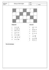 Übung zu Gleichungen - in Kreuzworträtselform