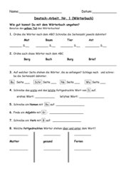 deutsch arbeit zum wörterbuch, klasse 3