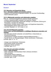 Jahresplan Deutsch für das 2. Schuljahr in Bayern