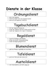 Ordnungsdienst klassenzimmer  4teachers: Lehrproben, Unterrichtsentwürfe und Unterrichtsmaterial ...