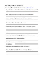 Aufgaben zur Homepage des Landes Baden-Württemberg