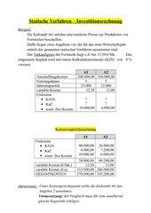 Statische Verfahren der Investitionsrechnung