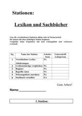 Stationenarbeit Lexika und Sachbücher