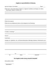 Formblatt über Angaben zur gesundheitlichen Verfassung