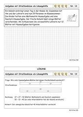Sachrechenkartei - 3. Klasse - ZR bis 100 - sehr schwer - mit Streifenskizze rechnen