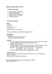 Week plan G 2 Unit 2