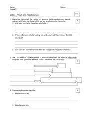 Klassenarbeit Absolutismus incl. Lösung und Notenschlüssel
