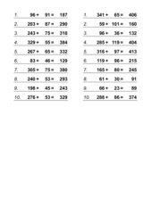 Kopfrechenübungen (Addition und Multiplikation)