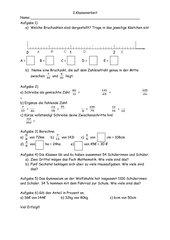Klassenarbeit - 6. Klasse, NRW - Einführung in die Bruchrechnung