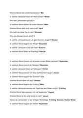 Lernspiel zum Thema Jahr, Jahreszeiten, Ereignisse im Jahr