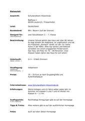 Empfehlung Schullandheim Hitzenlinde