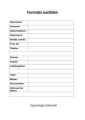 Formulare ausfüllen - lebenspraktischer Schriftverkehr