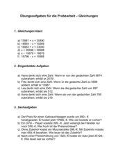 Gleichungen (Addieren und Subtrahieren) 5. Klasse