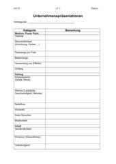 Beobachtungsbogen für Präsentationen