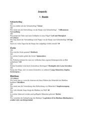 Bioquiz zum Thema Wirbellose