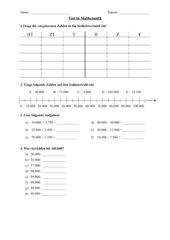 Test nach der Einführung in den Zahlenraum bis 100.000