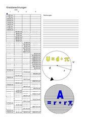 Übungsblatt für die Kreisberechnung