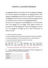 Fremdwörter, Thema Fußball, Klasse 8