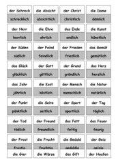 Ableitung von Adjektiven - Wortkarten