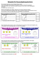 Hausaufgabengutscheine (Beispiele + Einsatz)