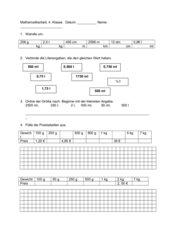 Mathe-Arbeit 4. Klasse, diverse Maßeinheiten