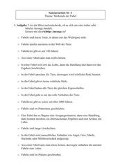Klassenarbeit: Merkmale einer Fabel (Hahn und Ente von G. Holting)