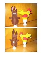 Osterhase und Huhn als Eierwärmer