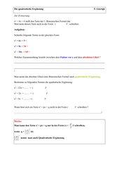 Quadratische Ergänzung mit Lösungen