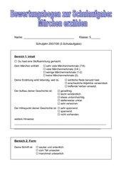 Bewertungsbogen zur Schulaufgabe