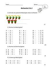Mathearbeit Klasse 2