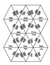 Dreieckpuzzle: Reimwörter mit langem Selbstlaut ohne Dehnungszeichen