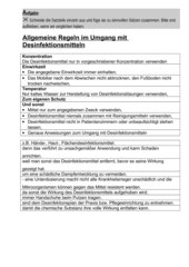 Allgemeine Regeln im Umgang mit Desinfektionsmitteln