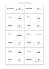 Verb-Substantiv:    Memo-Spiel / Zuordnungsspiel