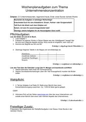 Wochenplanaufgaben Unternehmenskonzentration