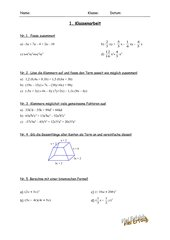 Klassenarbeit zu Multiplizieren von Summen und Faktorisieren