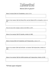 Zahlenrätsel Klasse 3