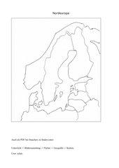 Umrisskarte  Nordeuropas - sw und farbig