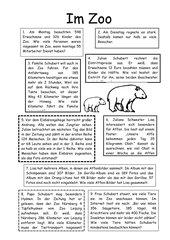 Im Zoo - Sachaufgaben im ZR bis 1000