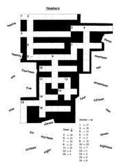 Crossword zu Numbers 1-20