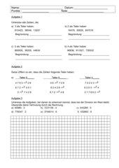 Klassenarbeit im 4.Schuljahr zur Teilbarkeit (mit Lösungen)