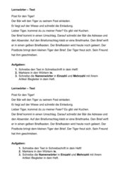 Post für den Tiger - Lernwörter Text